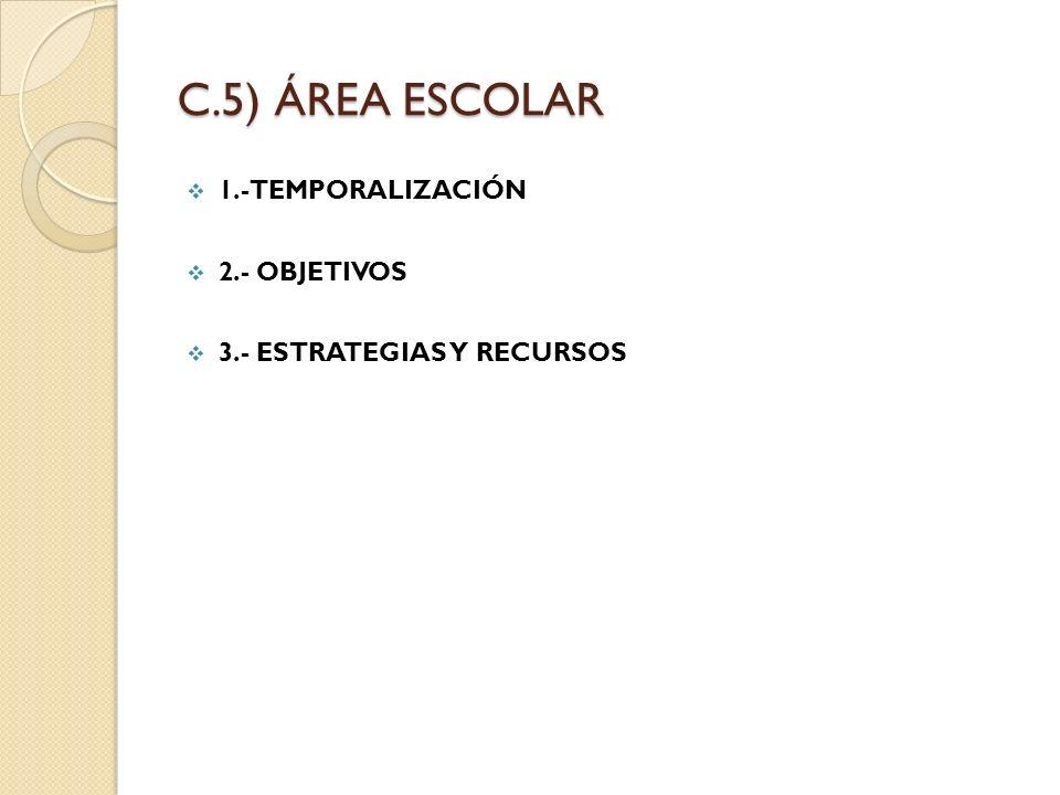 C.5) ÁREA ESCOLAR 1.-TEMPORALIZACIÓN 2.- OBJETIVOS