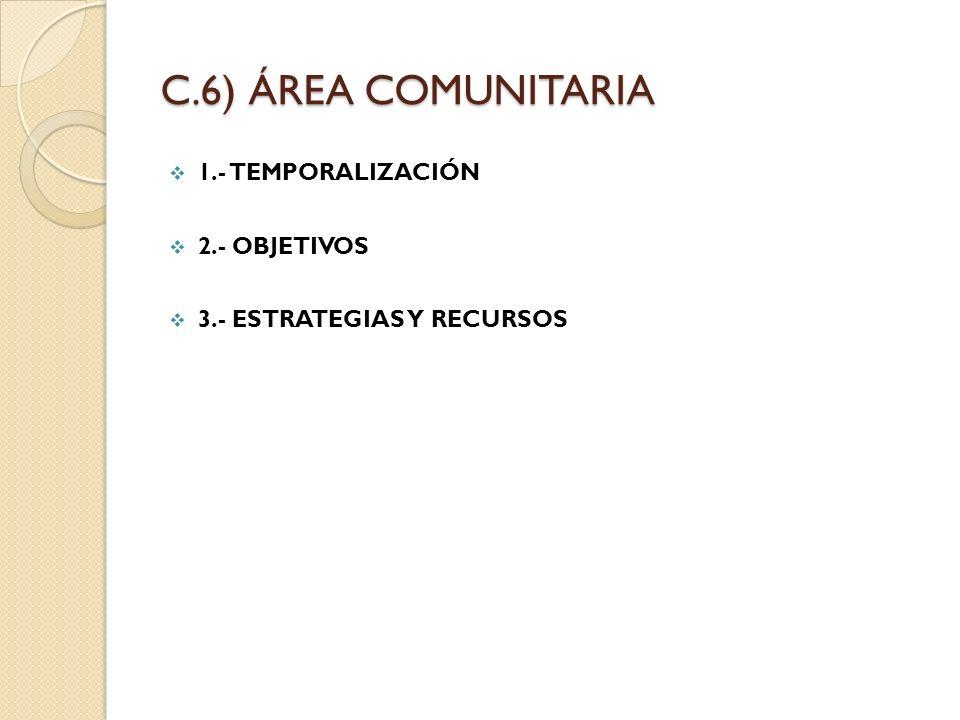 C.6) ÁREA COMUNITARIA 1.- TEMPORALIZACIÓN 2.- OBJETIVOS