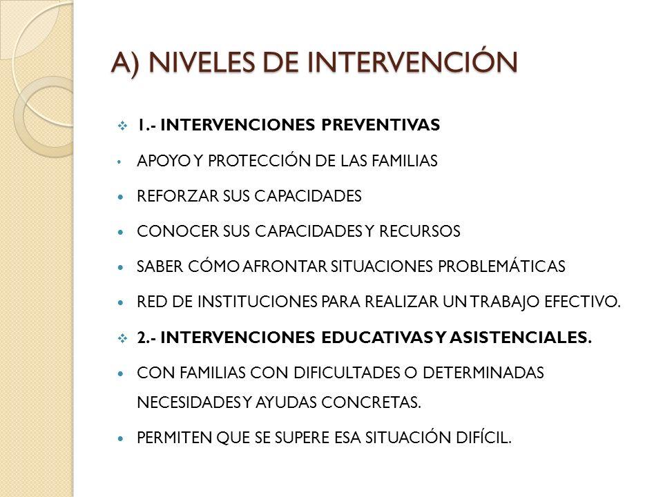 A) NIVELES DE INTERVENCIÓN