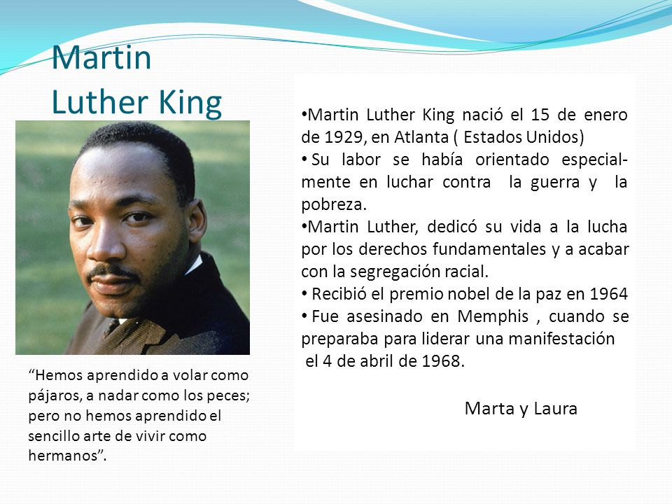 Martin Luther King Marta y Laura