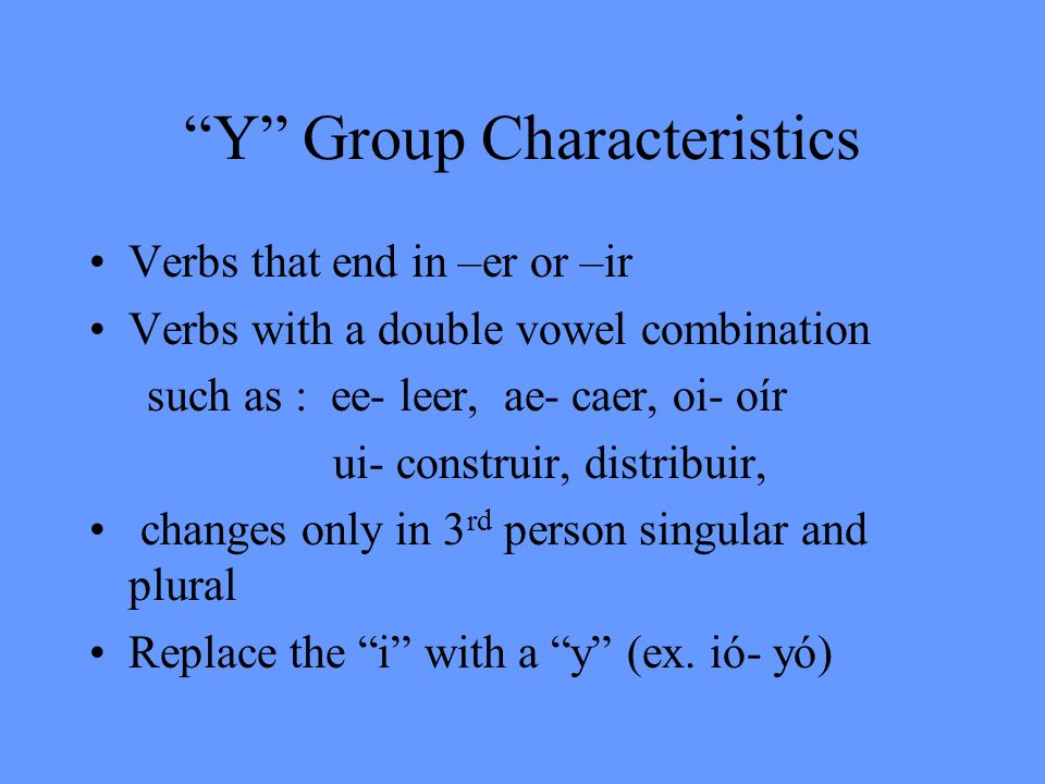 Y Group Characteristics