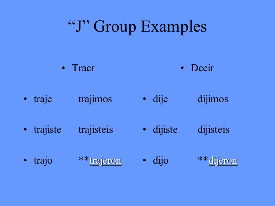 J Group Examples Traer traje trajimos trajiste trajisteis