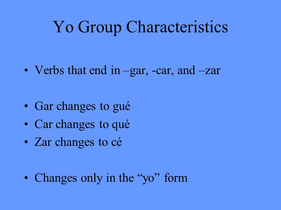 Yo Group Characteristics
