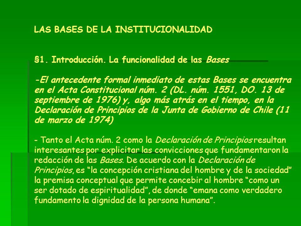 LAS BASES DE LA INSTITUCIONALIDAD