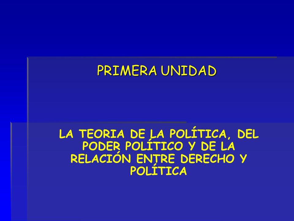 PRIMERA UNIDAD LA TEORIA DE LA POLÍTICA, DEL PODER POLÍTICO Y DE LA RELACIÓN ENTRE DERECHO Y POLÍTICA.
