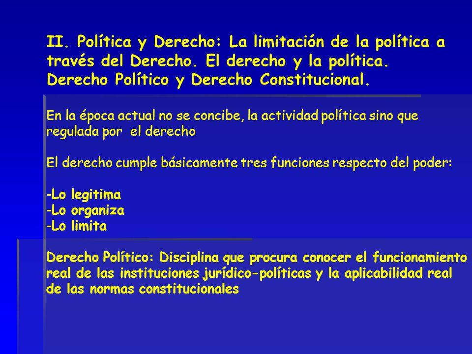 II. Política y Derecho: La limitación de la política a