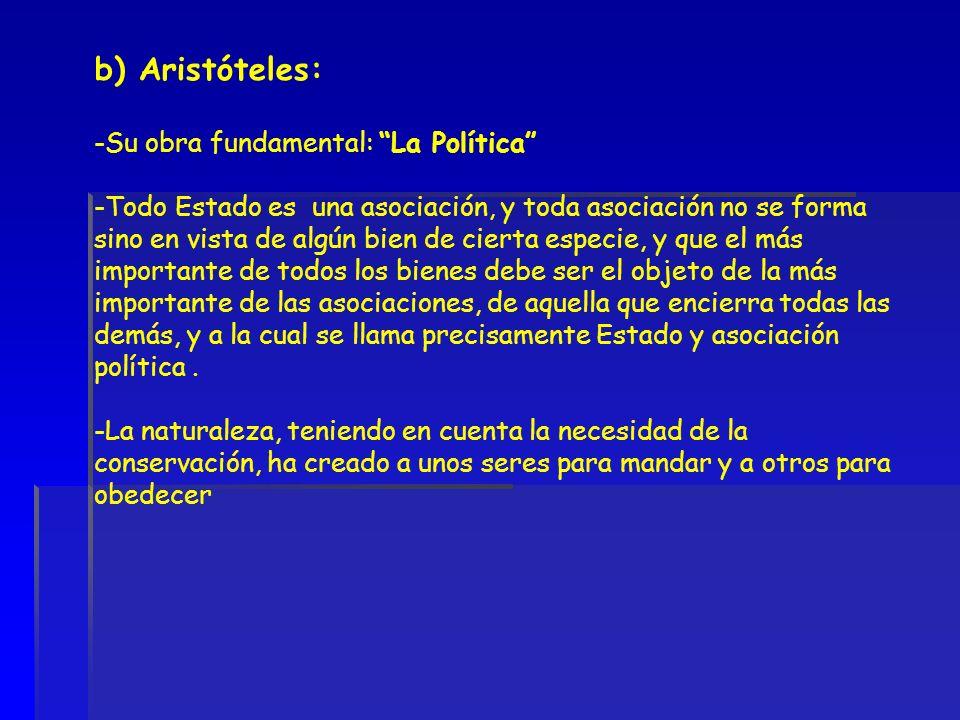 b) Aristóteles: Su obra fundamental: La Política