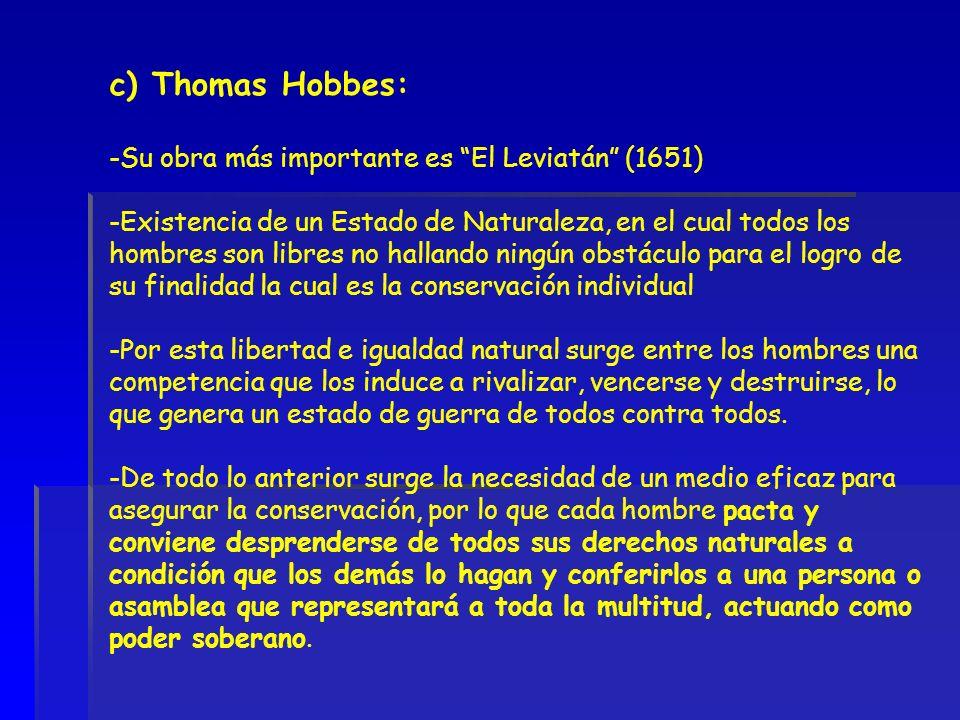 c) Thomas Hobbes: Su obra más importante es El Leviatán (1651)