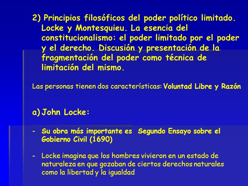 2) Principios filosóficos del poder político limitado