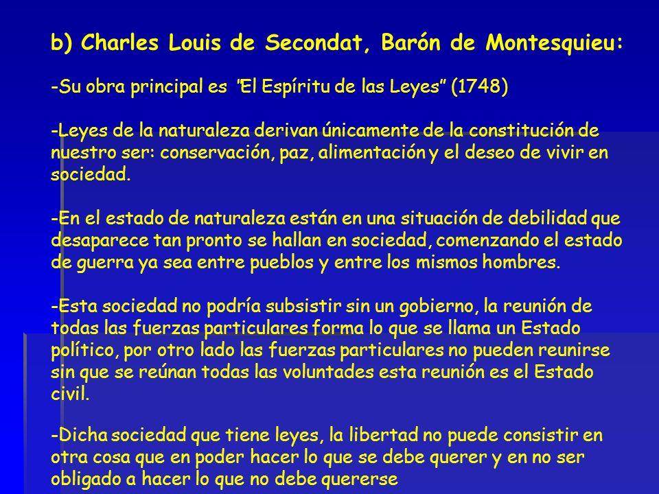 b) Charles Louis de Secondat, Barón de Montesquieu: