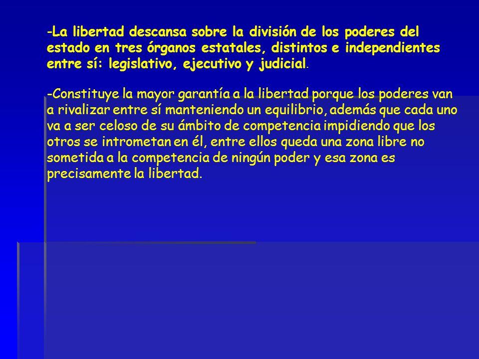 La libertad descansa sobre la división de los poderes del estado en tres órganos estatales, distintos e independientes entre sí: legislativo, ejecutivo y judicial.
