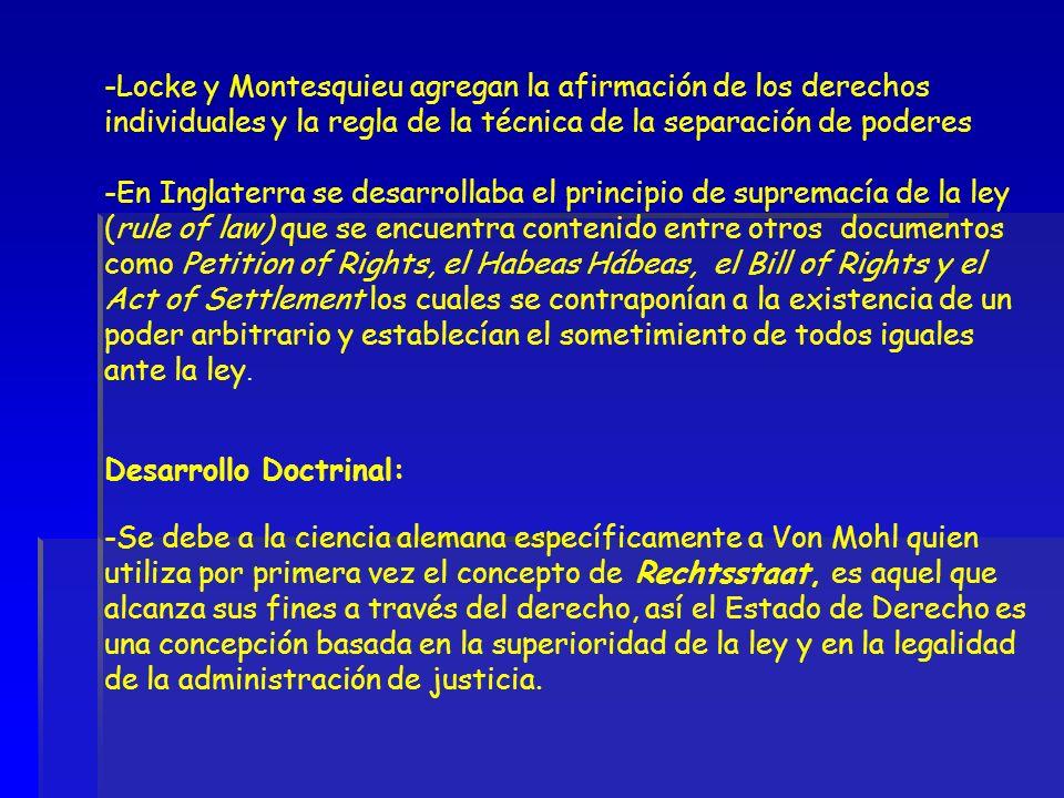 -Locke y Montesquieu agregan la afirmación de los derechos individuales y la regla de la técnica de la separación de poderes