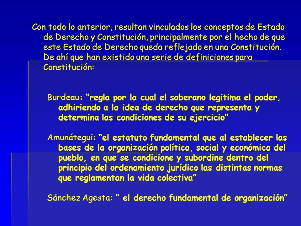 Con todo lo anterior, resultan vinculados los conceptos de Estado de Derecho y Constitución, principalmente por el hecho de que este Estado de Derecho queda reflejado en una Constitución. De ahí que han existido una serie de definiciones para Constitución: