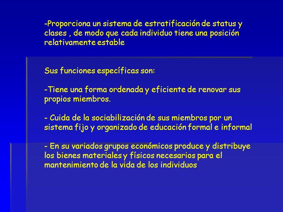 Proporciona un sistema de estratificación de status y clases , de modo que cada individuo tiene una posición relativamente estable
