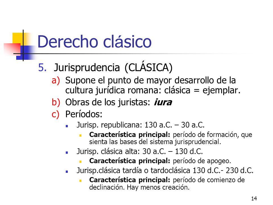 Derecho clásico Jurisprudencia (CLÁSICA)