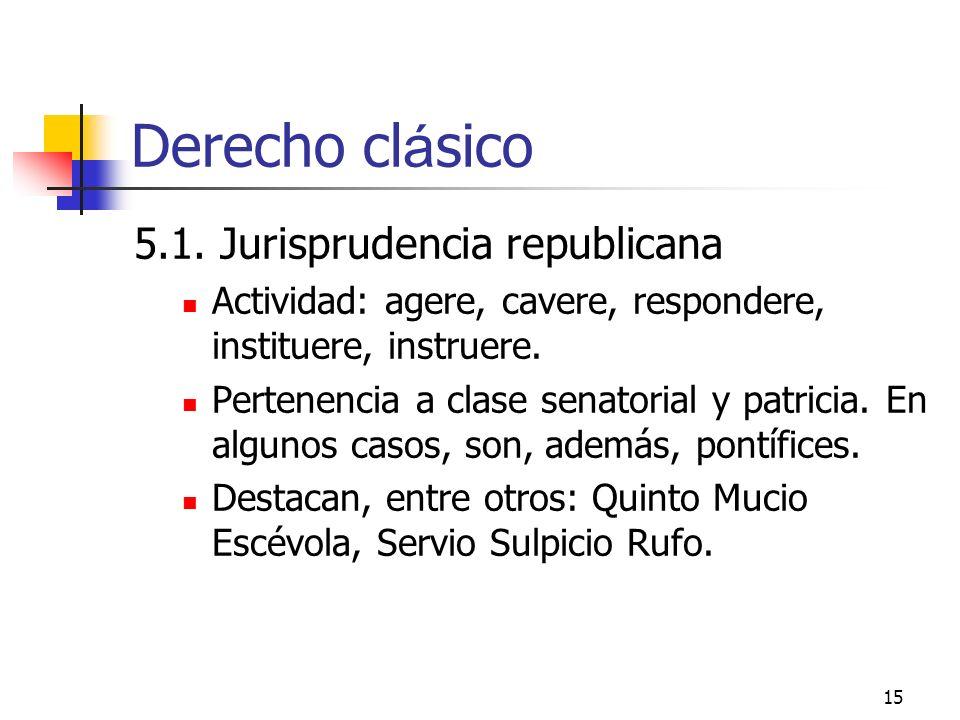 Derecho clásico 5.1. Jurisprudencia republicana