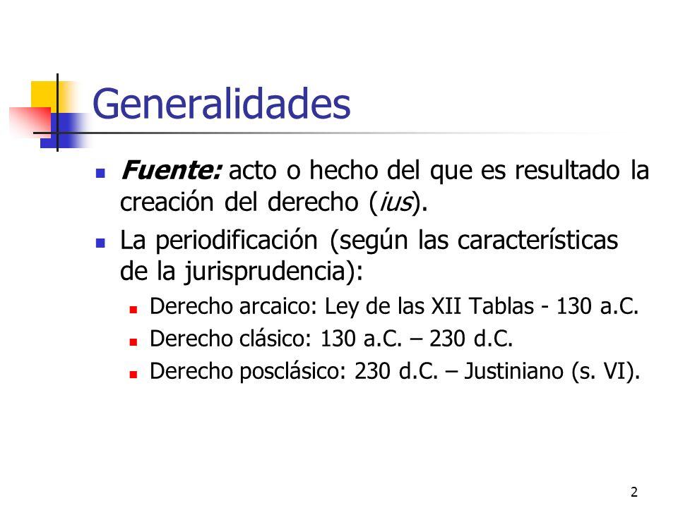 Generalidades Fuente: acto o hecho del que es resultado la creación del derecho (ius).