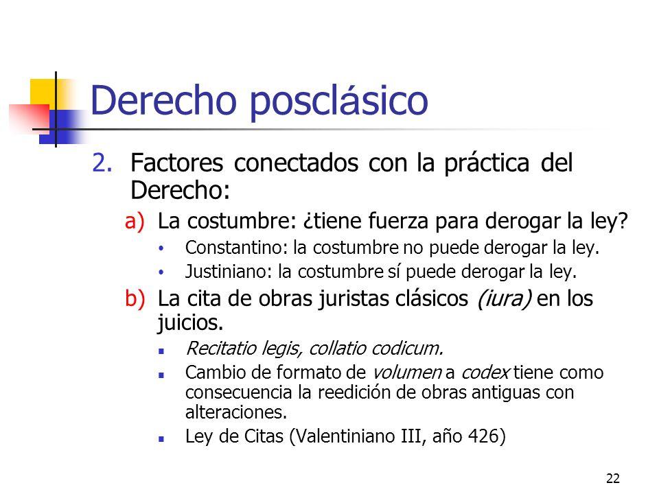 Derecho posclásico Factores conectados con la práctica del Derecho:
