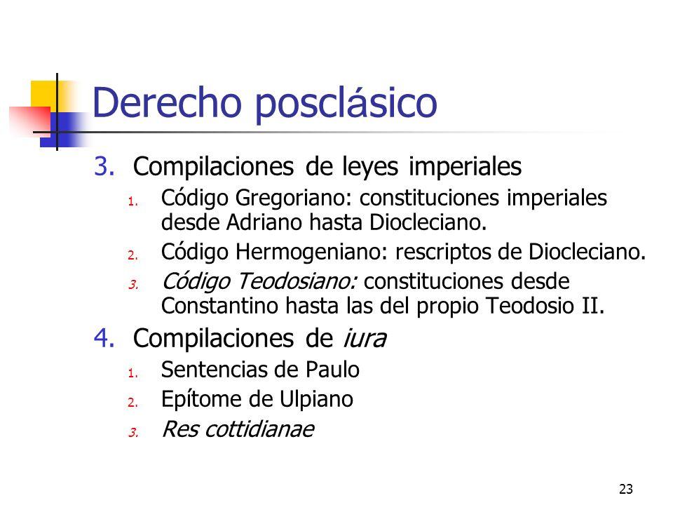 Derecho posclásico Compilaciones de leyes imperiales