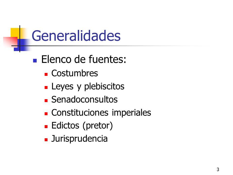 Generalidades Elenco de fuentes: Costumbres Leyes y plebiscitos