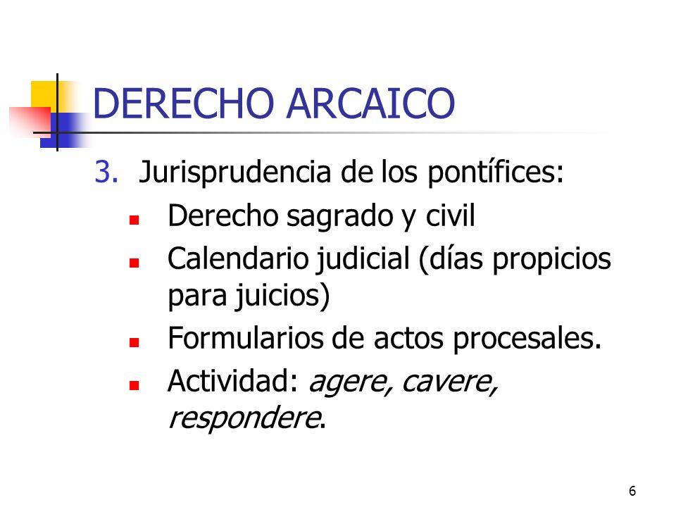 DERECHO ARCAICO Jurisprudencia de los pontífices: