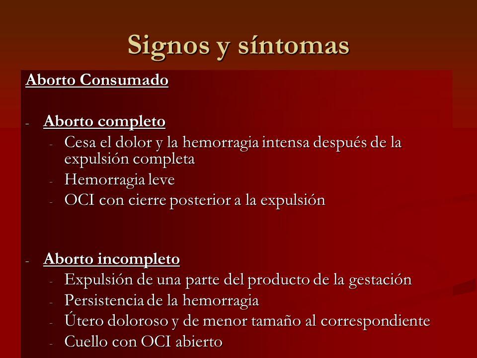 Signos y síntomas Aborto Consumado Aborto completo