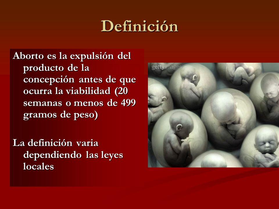 Definición Aborto es la expulsión del producto de la concepción antes de que ocurra la viabilidad (20 semanas o menos de 499 gramos de peso)