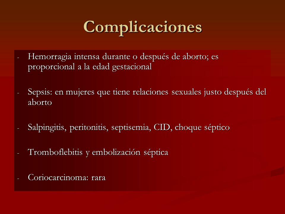 Complicaciones Hemorragia intensa durante o después de aborto; es proporcional a la edad gestacional.
