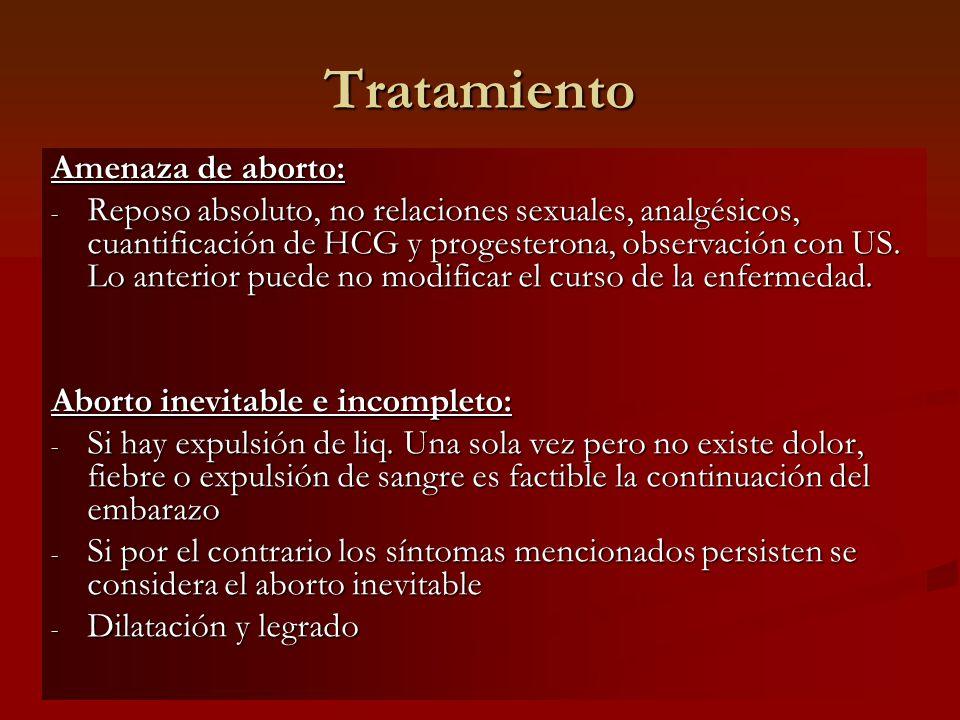 Tratamiento Amenaza de aborto: