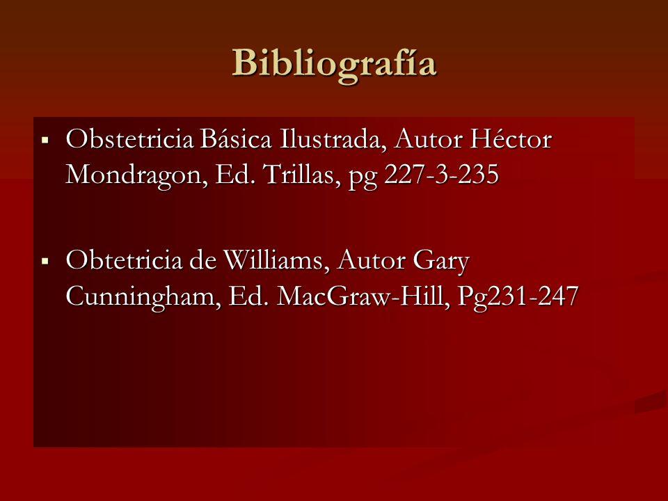 Bibliografía Obstetricia Básica Ilustrada, Autor Héctor Mondragon, Ed. Trillas, pg 227-3-235.