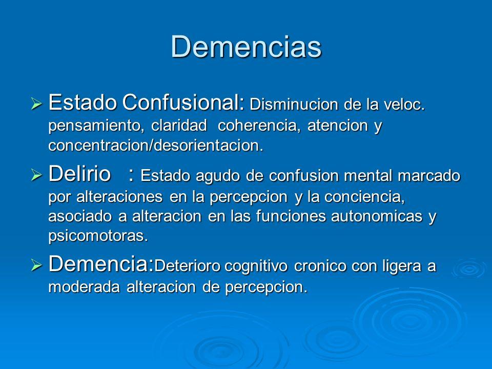 Demencias Estado Confusional: Disminucion de la veloc. pensamiento, claridad coherencia, atencion y concentracion/desorientacion.