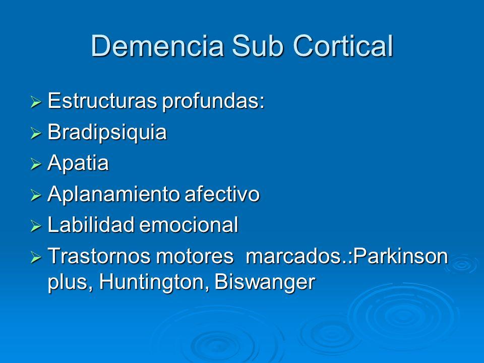 Demencia Sub Cortical Estructuras profundas: Bradipsiquia Apatia