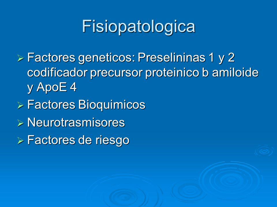 Fisiopatologica Factores geneticos: Preselininas 1 y 2 codificador precursor proteinico b amiloide y ApoE 4.