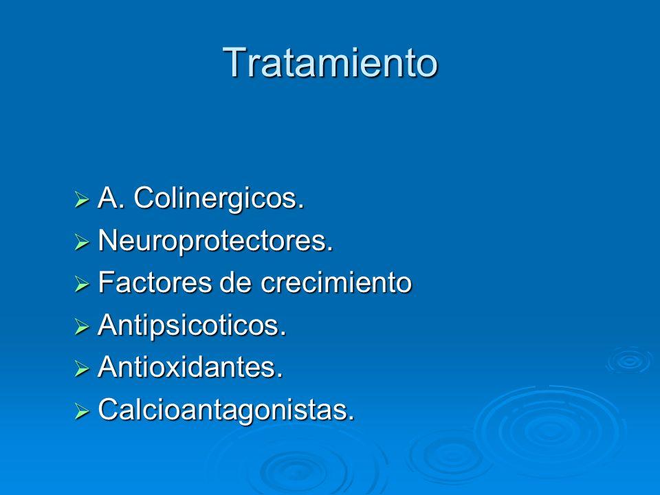 Tratamiento A. Colinergicos. Neuroprotectores. Factores de crecimiento
