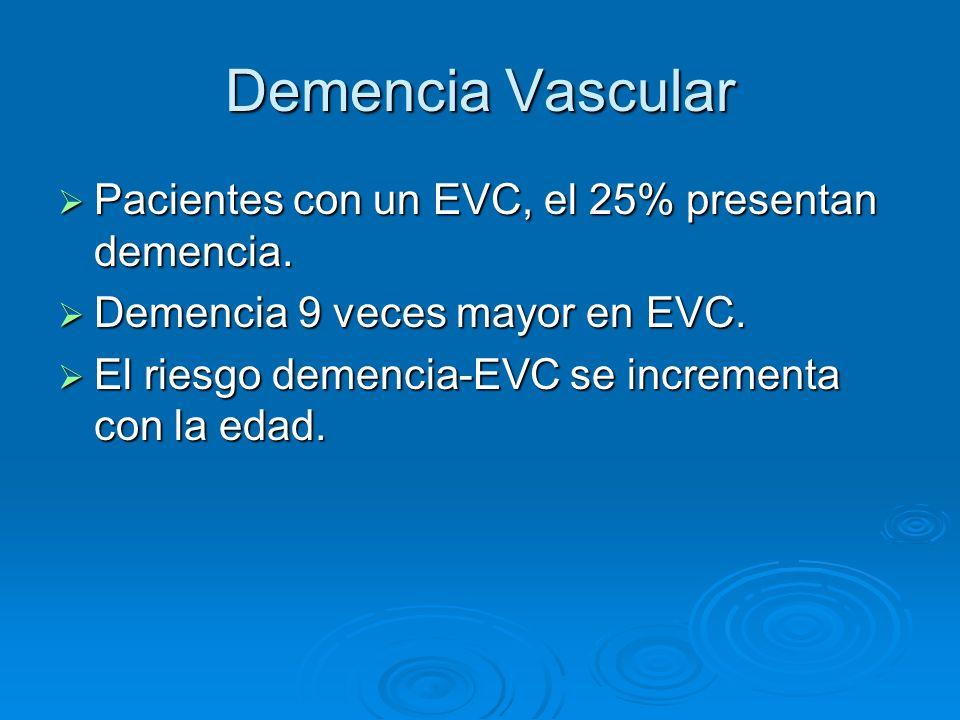 Demencia Vascular Pacientes con un EVC, el 25% presentan demencia.