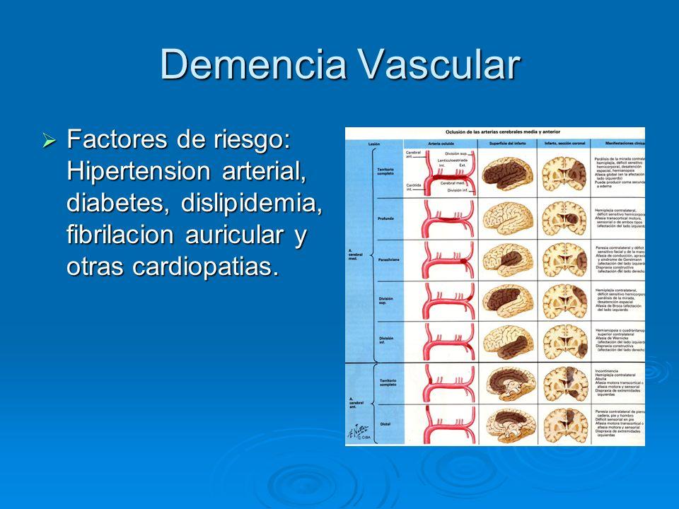 Demencia Vascular Factores de riesgo: Hipertension arterial, diabetes, dislipidemia, fibrilacion auricular y otras cardiopatias.