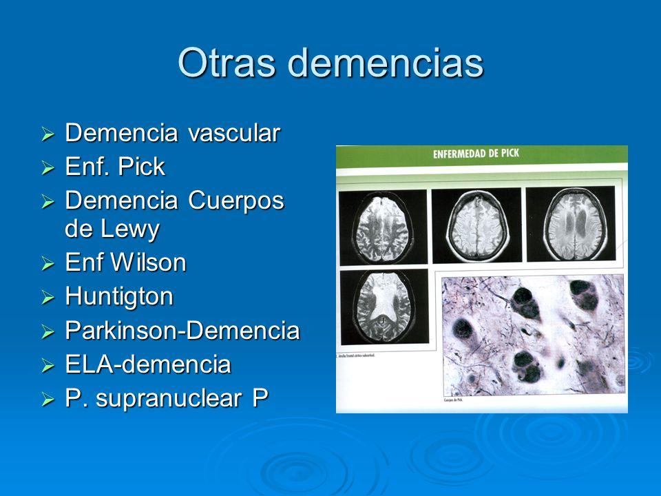 Otras demencias Demencia vascular Enf. Pick Demencia Cuerpos de Lewy