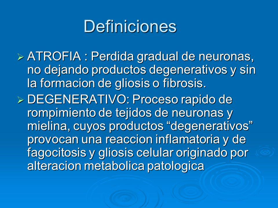 Definiciones ATROFIA : Perdida gradual de neuronas, no dejando productos degenerativos y sin la formacion de gliosis o fibrosis.