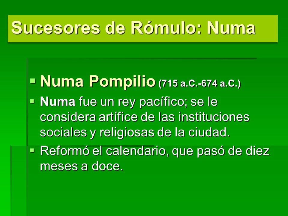 Sucesores de Rómulo: Numa