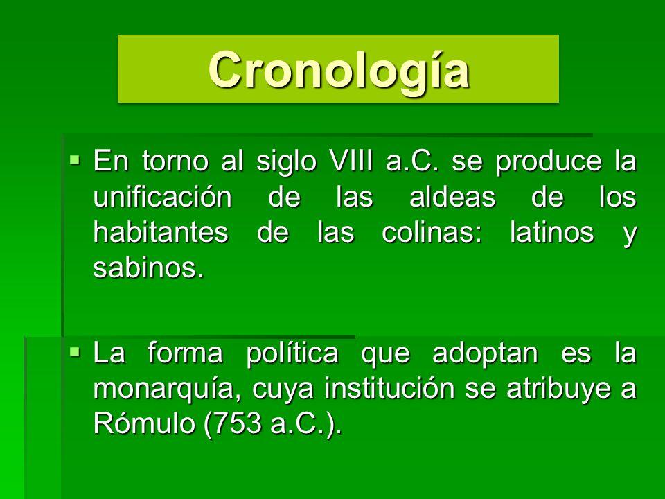Cronología En torno al siglo VIII a.C. se produce la unificación de las aldeas de los habitantes de las colinas: latinos y sabinos.