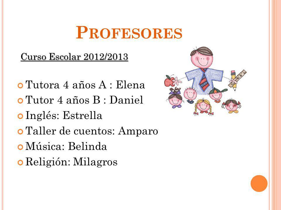 Profesores Tutora 4 años A : Elena Tutor 4 años B : Daniel