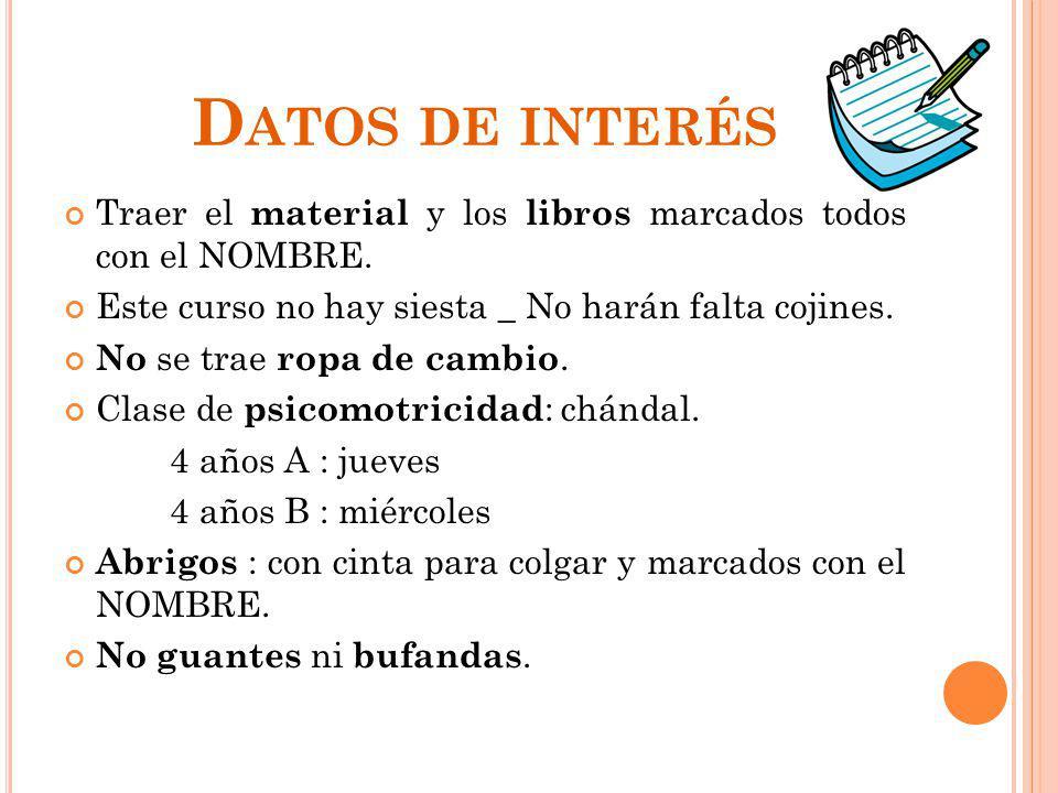 Datos de interés Traer el material y los libros marcados todos con el NOMBRE. Este curso no hay siesta _ No harán falta cojines.
