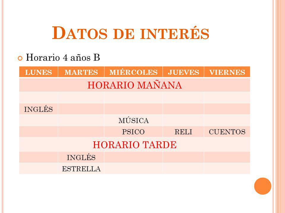 Datos de interés HORARIO MAÑANA Horario 4 años B HORARIO TARDE LUNES
