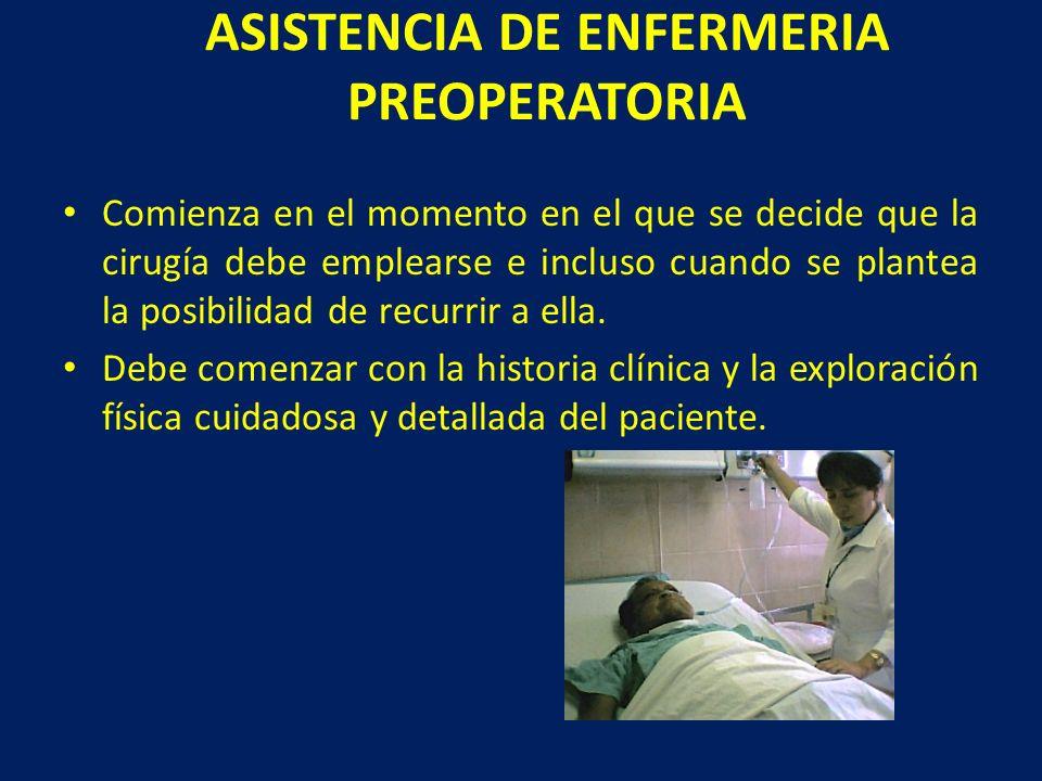 ASISTENCIA DE ENFERMERIA PREOPERATORIA