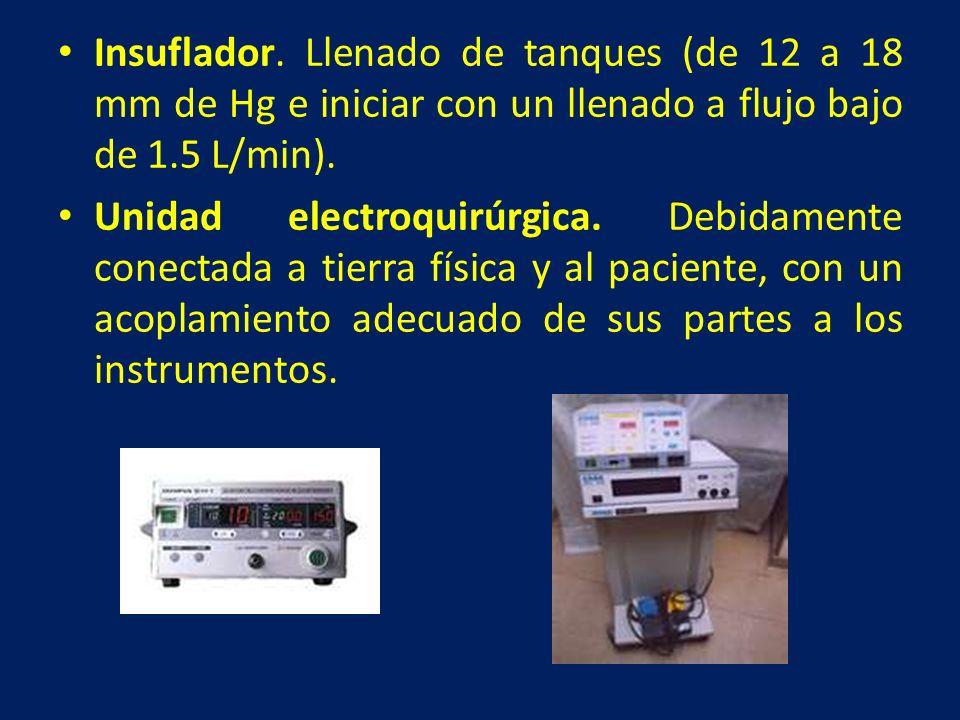 Insuflador. Llenado de tanques (de 12 a 18 mm de Hg e iniciar con un llenado a flujo bajo de 1.5 L/min).