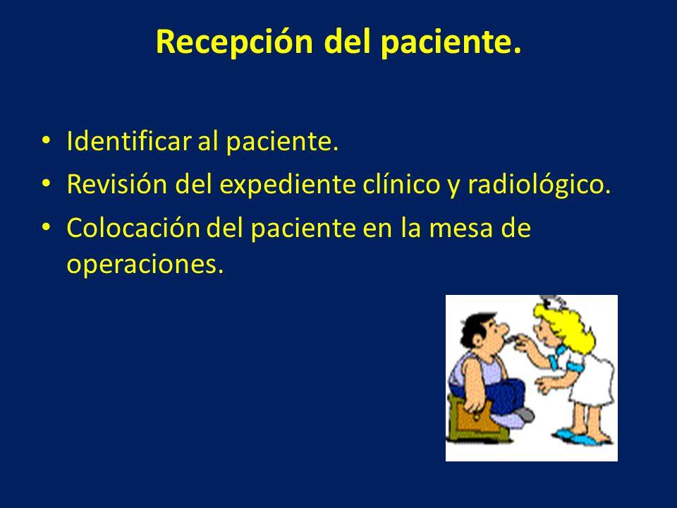 Recepción del paciente.