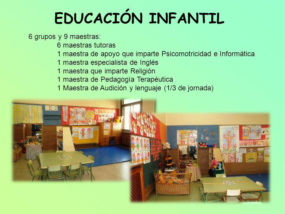 EDUCACIÓN INFANTIL 6 grupos y 9 maestras: 6 maestras tutoras
