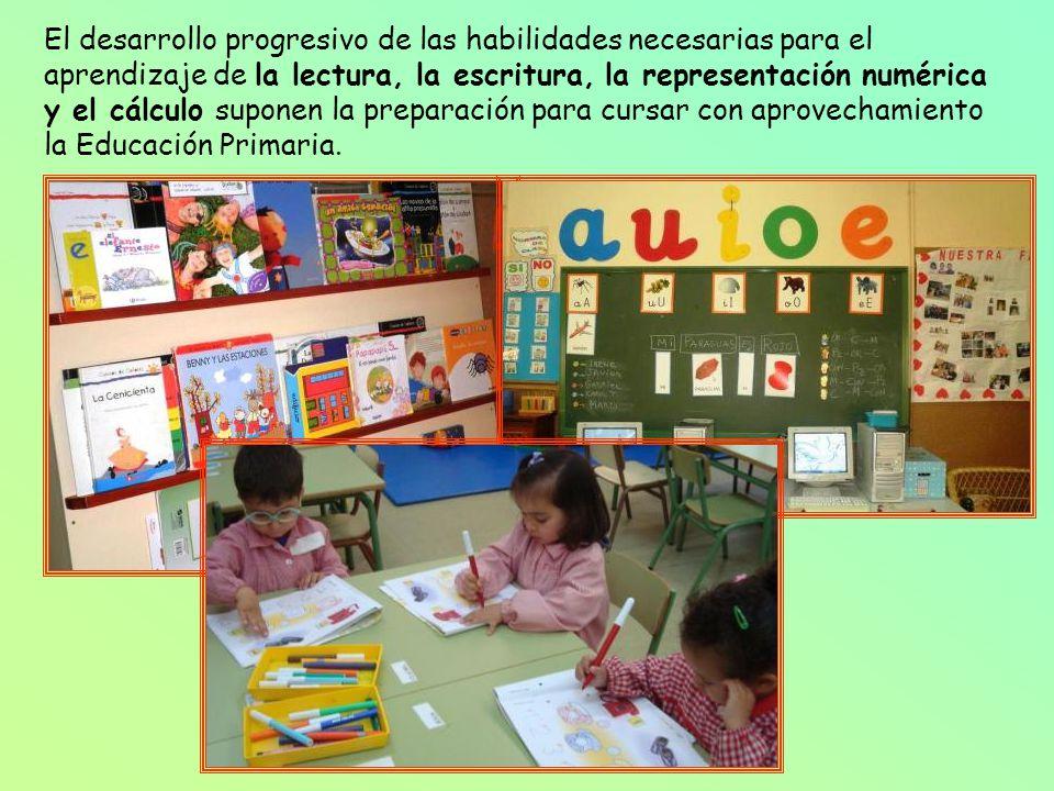 El desarrollo progresivo de las habilidades necesarias para el aprendizaje de la lectura, la escritura, la representación numérica y el cálculo suponen la preparación para cursar con aprovechamiento la Educación Primaria.