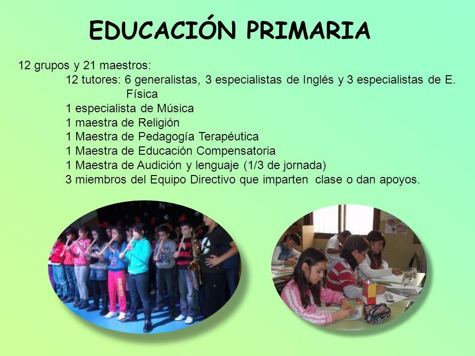 EDUCACIÓN PRIMARIA 12 grupos y 21 maestros: