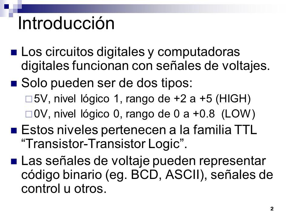 Introducción Los circuitos digitales y computadoras digitales funcionan con señales de voltajes. Solo pueden ser de dos tipos: